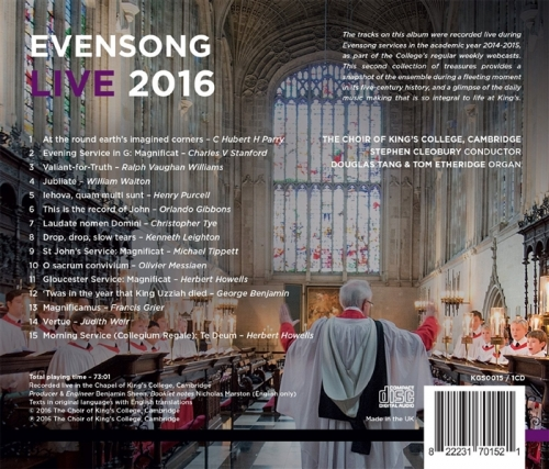 Evensong Live 2016 back cover