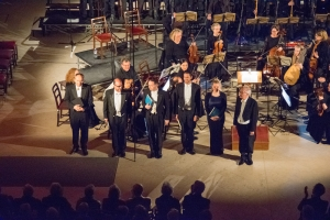 The soloists with Stephen Cleobury