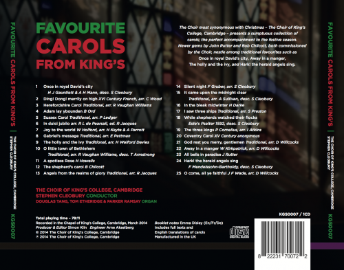 Favourite Carols from King's back cover