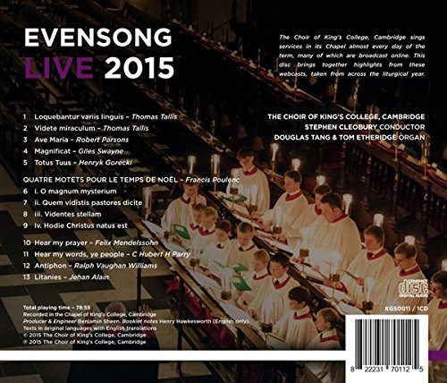 Evensong Live 2015 back cover