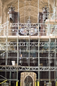 The empty organ case surrounded by scaffolding