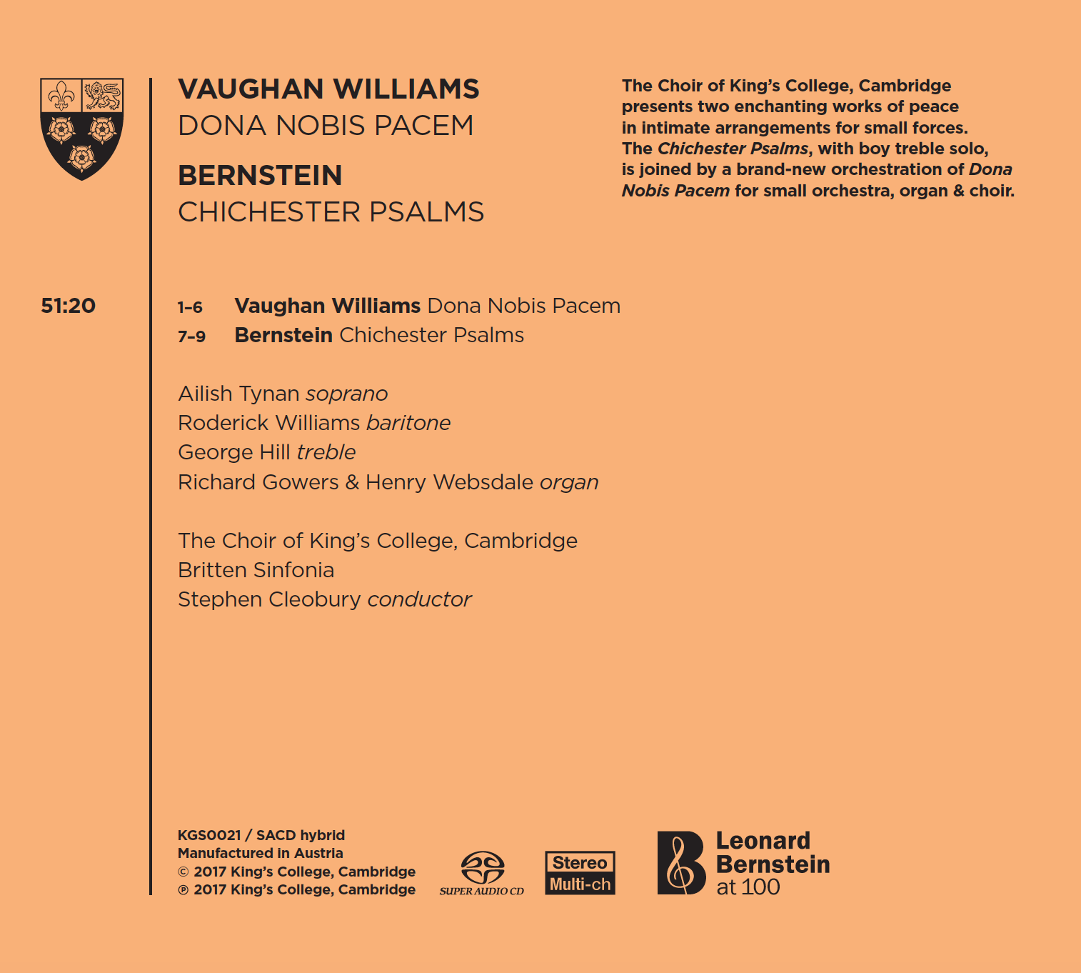 Bernstein Vaughan Williams Back Cover
