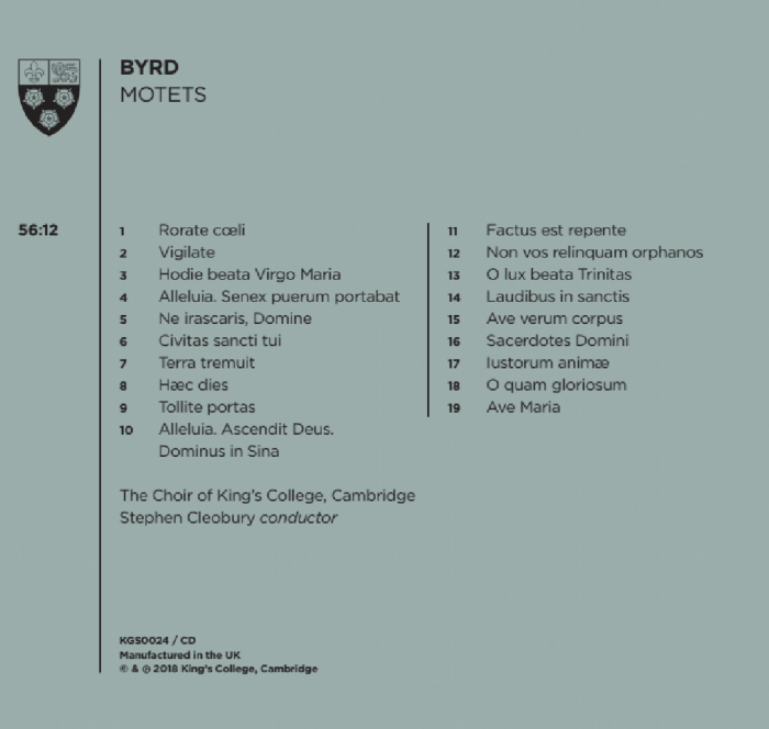 Byrd Motets Back Cover