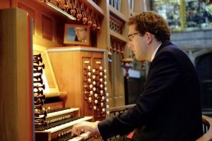 Daniel Hyde playing the organ