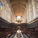 King's College Chapel – inside at sunset