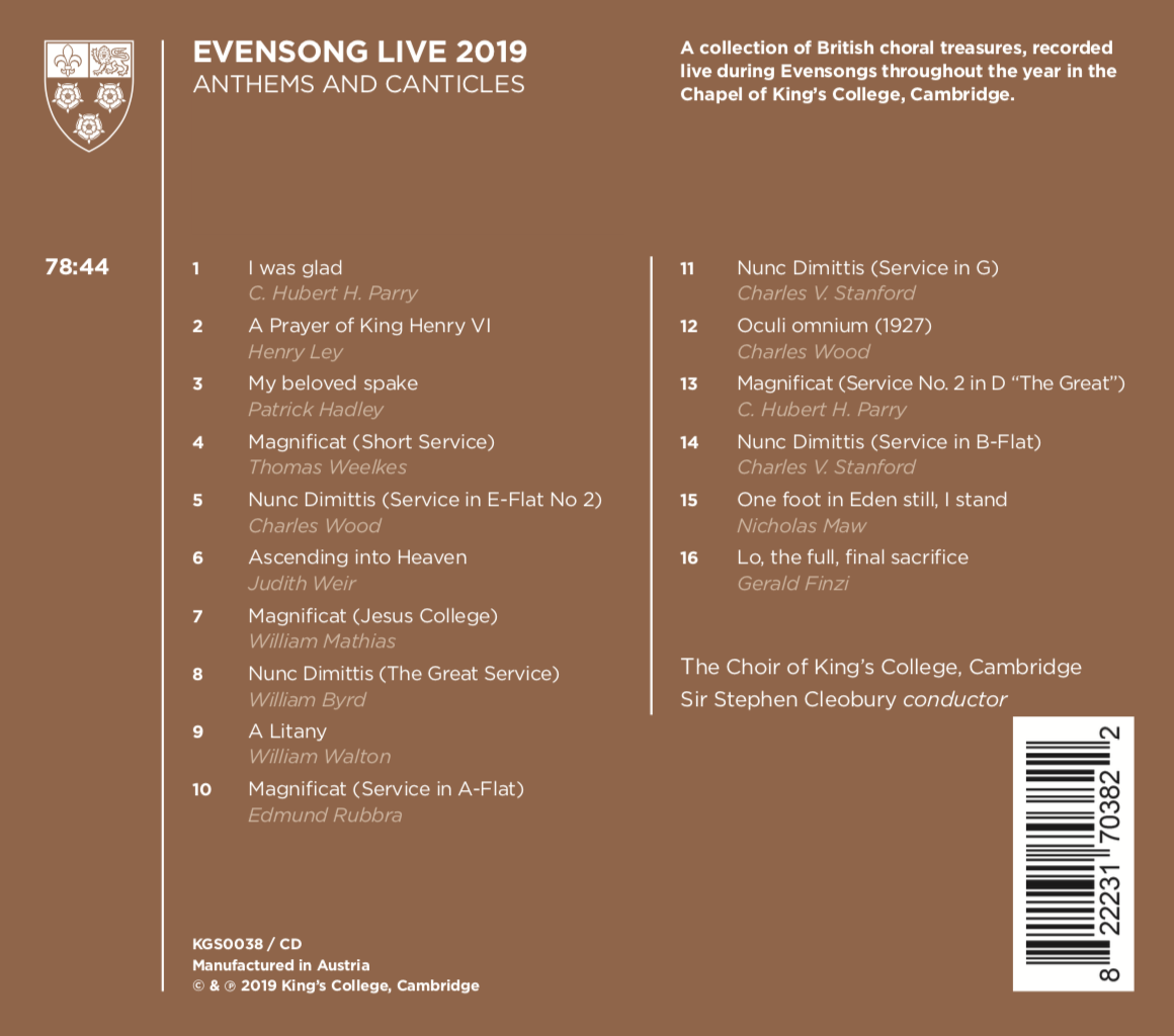 Evensong Live 2019 back cover