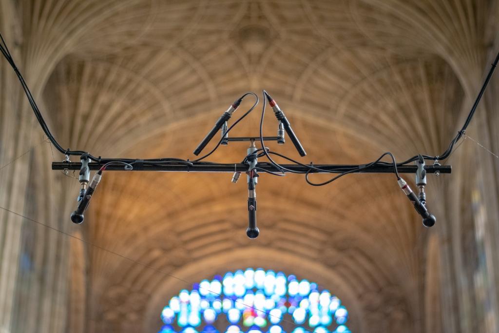 Microphones hanging in King's College Chapel