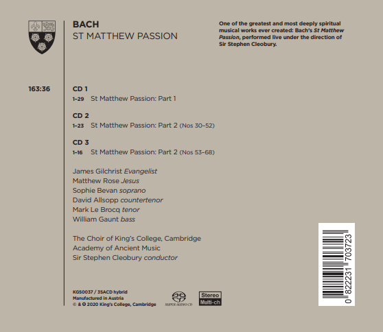 Bach St Matthew Passion back cover
