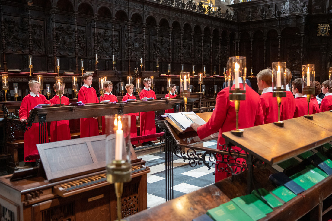 Choristers singing in the chapel