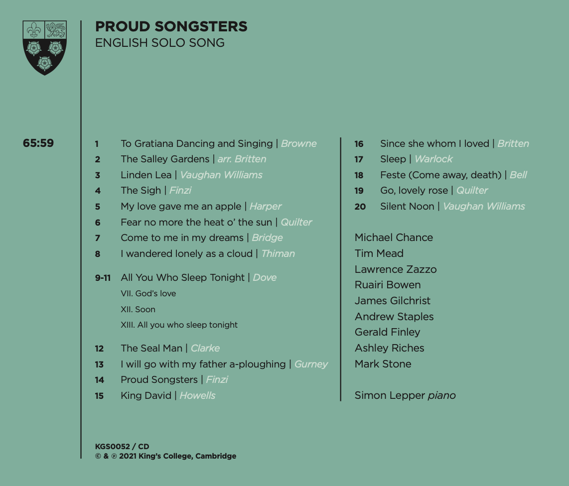 Proud Songsters back cover
